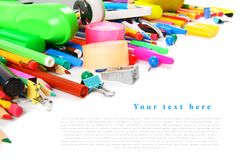 School tools and accessories on white background. Stock Photos