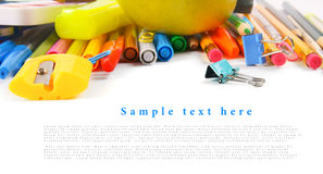 School tools and accessories on white background. Stock Photo