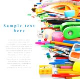 School tools and accessories on white background. Stock Image