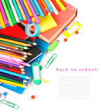 School tools and accessories on white background. Stock Images