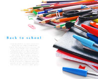 School tools and accessories on white background. Royalty Free Stock Image