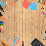 School tools and accessories on wood background Stock Images