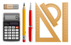 School tools for learning, pencil, pen, calculator, rulers and rubber Royalty Free Stock Photos
