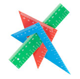 School tools multicolored triangle, ruler, protractor. Royalty Free Stock Image