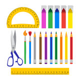 School tools set over white Royalty Free Stock Image