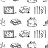 School tools sketch icons seamless vector pattern. Royalty Free Stock Images