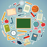 School tools and supplies on a blue background. Round vector eps10  illustration Stock Image