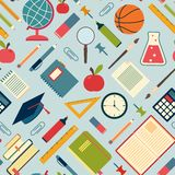 School tools and supplies on a blue background. Stock Image