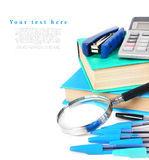 School tools on a white background. Royalty Free Stock Photo