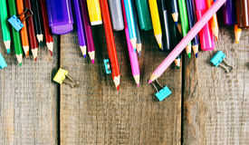School tools. On wooden background. Royalty Free Stock Images