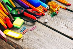 School tools. On wooden background. Stock Photography