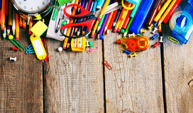 School tools. On wooden background. Royalty Free Stock Image