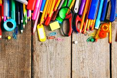 School tools. On wooden background. Stock Images