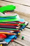 School tools. On wooden background. Royalty Free Stock Photography