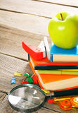 School tools. On wooden background. Royalty Free Stock Photo