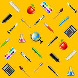 School tools on yellow background seamless vector Stock Image
