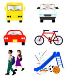 School Transportation Icons Stock Images