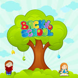 School tree. And kids with books vector set vector illustration