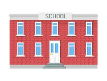 School Two-storey Building, Windows and Entrance Stock Photography