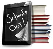 School uit - Tabletcomputer met Boeken Royalty-vrije Stock Foto