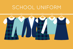 School Uniform for Children and Teenagers on Hangers Royalty Free Stock Photos