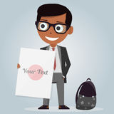 School uniforms for boys. Isolated character. Cartoon personage. Vector illustration on white background. Modern stylish schoolboy. Schoolboy with white board Royalty Free Stock Images