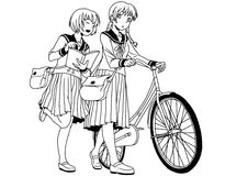 School uniforms girls with bike. Illustration,ink,black and white,logo,outline, on a white Royalty Free Stock Photography