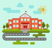 School or university building. Set of elements to create urban background, village and town landscape. Flat style vector illustration Stock Image