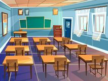 School or university classroom vector cartoon. School classroom interior vector cartoon illustration. University schoolroom design with view on blackboard royalty free illustration