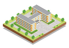 School or university or college building. Flat design web isometric concept. Stock Photos