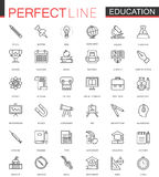 School university education thin line web icons set. Outline stroke icon design. School university education thin line web icons set. Outline stroke icon design Stock Photos