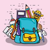 School utensil design to study and learn stock illustration