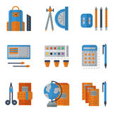 School utensils flat color icons Stock Image