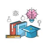School utensils to education knowledge design stock illustration