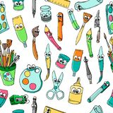 School van de Kantoorbehoeften van beeldverhaalkarakters: Potlood, Ballpoint, Slijper, Heerser, Gom naadloos patroon royalty-vrije illustratie