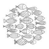 School van vissen Een groep gestileerde vissen die in een cirkel zwemmen Zwart-witte vissen voor kinderen met ornamenten marine Stock Afbeelding