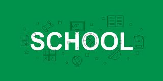 School vector banner. Word with line icon. Vector background. Vector illustration royalty free illustration