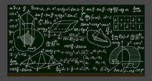 School vector blackboard with handwritten mathematical formulas, calculations and figures Stock Photo