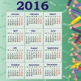 School vector 2016 Calendar. Bright school calendar of the year 2016 with pencil's background stock illustration