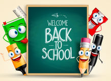 School vector characters of funny pencil, pen, sharpener. And other school items holding blackboard with back to school writing. Vector illustration royalty free illustration