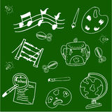 School vector doodles collection stock. On green backgrounds Stock Images