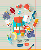 School vector illustration on line notebook paper. School illustration with school objects. Royalty Free Stock Photo