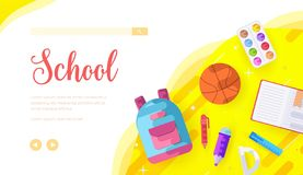 School vector landing page template. College subjects web banner with text space. University website homepage design. Afterschool activities cartoon stock illustration