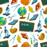 School vector seamless pattern of study supplies Royalty Free Stock Photography