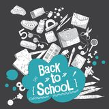 School vectorillustratie op zwarte achtergrond De levering van de school en van het bureau Malplaatje van kantoorbehoeftenlay-out royalty-vrije illustratie