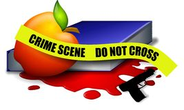 School Violence Crime Scene Tape. An illustration featuring an apple, book, blood, gun and crime scene tape as a stark symbolic representation of school violence Stock Photos