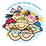 School for the visually impaired, group of children with eyeglasses Royalty Free Stock Photography