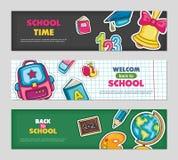 School vlakke vectorbanners Royalty-vrije Stock Afbeeldingen