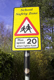School Warning Sign. A roadside school safety zone warning sign stock image