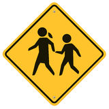 School warning sign. School Traffic sign, road sign with warning for crossing kids Royalty Free Stock Images